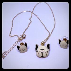 Dog Necklace & Earrings Set